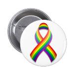 Rainbow Awareness Ribbon Button