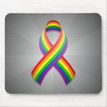 Rainbow Awareness Ribbon Mousepad