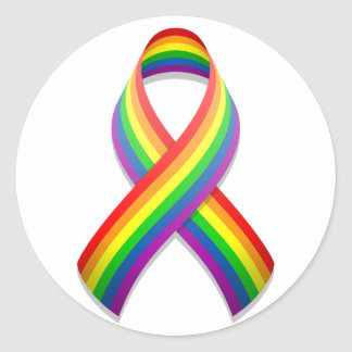 Rainbow Awareness Ribbon Round Sticker