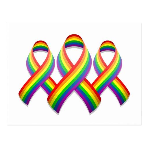 Rainbow Awareness Ribbon Trio Postcard