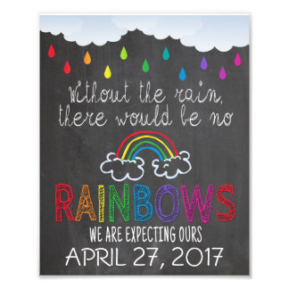Rainbow Baby Announcement Photo Prop Sign, 8 x 10