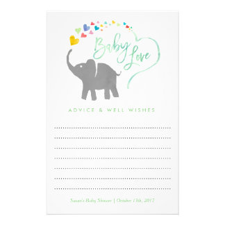 Rainbow Baby, Elephant Baby Shower Advice Card