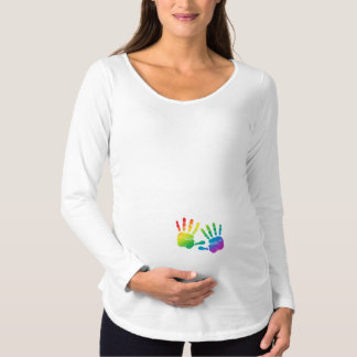Rainbow Baby Handprints Maternity Shirt
