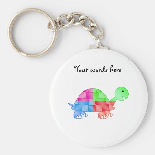 Rainbow baby turtle keychain