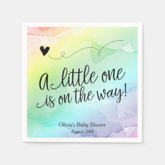 Rainbow Baby, Watercolor Baby Shower Disposable Napkin