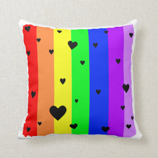Rainbow background with hearts & stars cushion