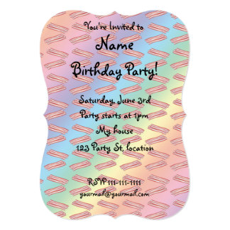 Rainbow bacon pattern custom invites