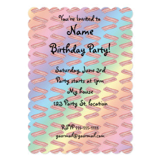 Rainbow bacon pattern 5x7 paper invitation card