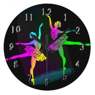 Rainbow Ballet Dancers In The Spotlight Large Clock