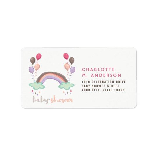 Rainbow & Balloons Girl Baby Shower Address Labels
