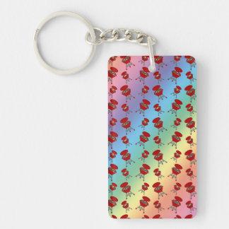 rainbow barbeque pattern rectangular acrylic key chain