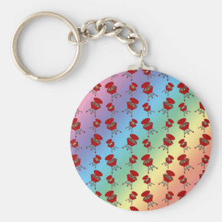 rainbow barbeque pattern key chain