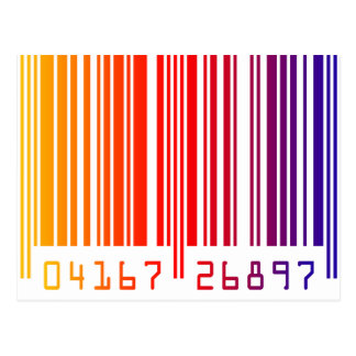 Rainbow Barcode Post Cards