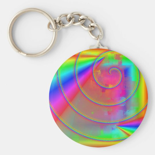 Rainbow Basic Round Button Key Ring