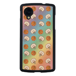 Rainbow basketballs and nets pattern carved® maple nexus 5 slim case