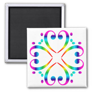 Rainbow Bass Clef Cluster Square Magnet