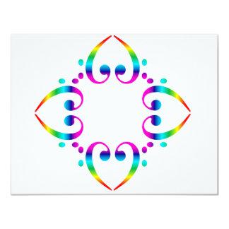 Rainbow Bass Clef Flower 11 Cm X 14 Cm Invitation Card