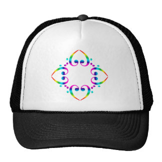 Rainbow Bass Clef Flower Cap