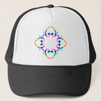 Rainbow Bass Clef Flower Trucker Hat