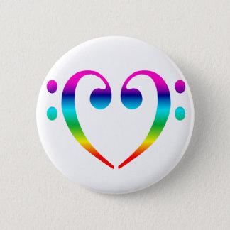 Rainbow Bass Clef Heart 6 Cm Round Badge