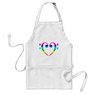 Rainbow Bass Clef Heart Aprons