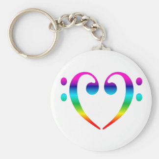 Rainbow Bass Clef Heart Basic Round Button Key Ring