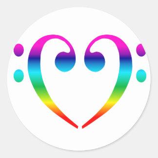 Rainbow Bass Clef Heart Round Sticker