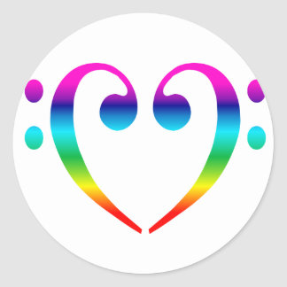 Rainbow Bass Clef Heart Classic Round Sticker