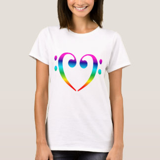 Rainbow Bass Clef Heart T-Shirt