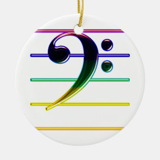 Rainbow Bass Clef Music Note Round Ceramic Decoration