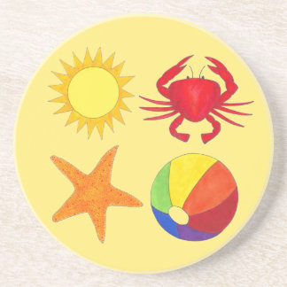 Rainbow Beach Ball Crab Sunshine Vacation Starfish Coaster