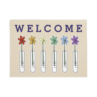 Rainbow Beaker with Flower Welcome Doormat