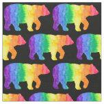 Rainbow Bear on Black Fabric H