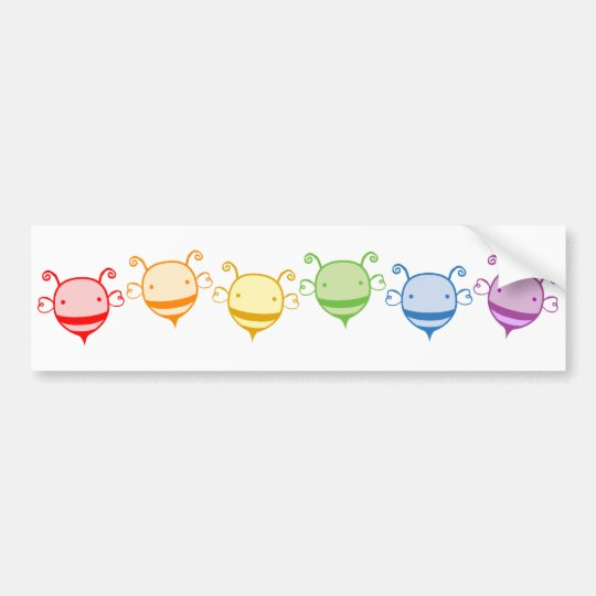 Rainbow Bee Bumper Sticker