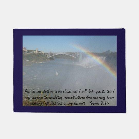 Rainbow Bible Scripture Door Mat