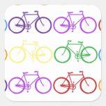 Rainbow Bicycling Classy Designer Square Sticker