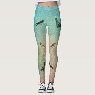 Rainbow Bird Pattern Print Leggings