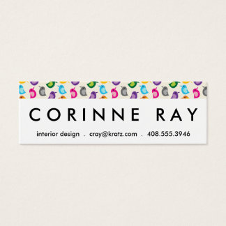 Rainbow Bird Print Girly Colorful Birdie Pattern Mini Business Card