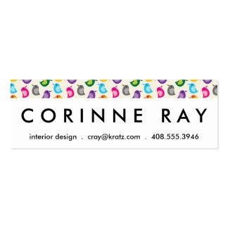 Rainbow Bird Print Girly Colorful Birdie Pattern Pack Of Skinny Business Cards