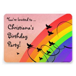 Rainbow Birds Swirls Birthday Party Invitation
