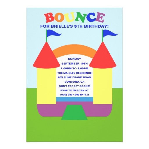 Rainbow Birthday Bounce Bounc House Birthday Party Personalized Invite
