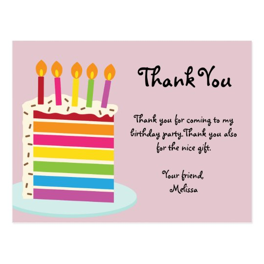 Rainbow Birthday Cake Thank You Postcard