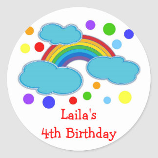 Rainbow Birthday Party Favor Labels