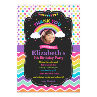 Rainbow Birthday Party Thank You Card Photo