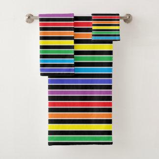 Rainbow, Black and White Stripes Bath Towel Set