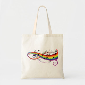 Rainbow Black Musical Notes Budget Tote Bag