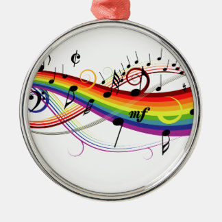Rainbow Black Musical Notes Christmas Ornament