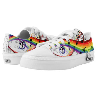 Rainbow Black Musical Notes Low Tops