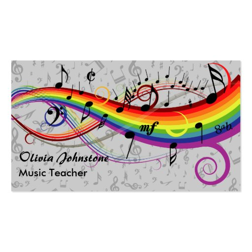 Rainbow Black Musical Notes on Gray Business Cards