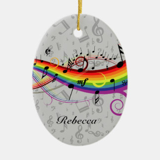 Rainbow Black Musical Notes on Gray Ceramic Oval Decoration
